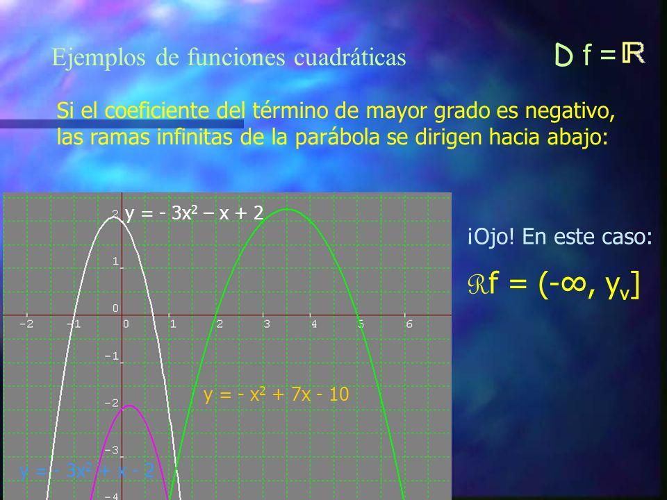 Rf = (-∞, yv] Ejemplos de funciones cuadráticas D f =